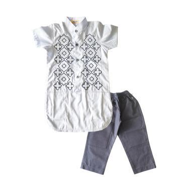 Rafifa Setelan Baju Koko Anak Lengan Pendek - Putih Abu-abu