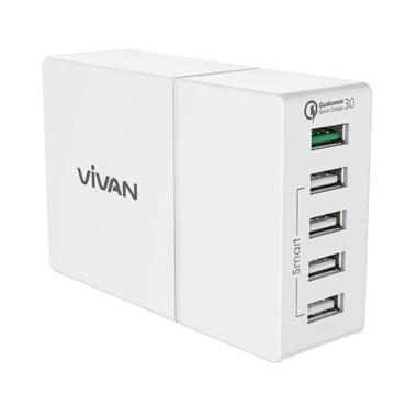 Vivan XQ5 USB Charger With Quick Charge 3.0 - Putih [5 Ports]
