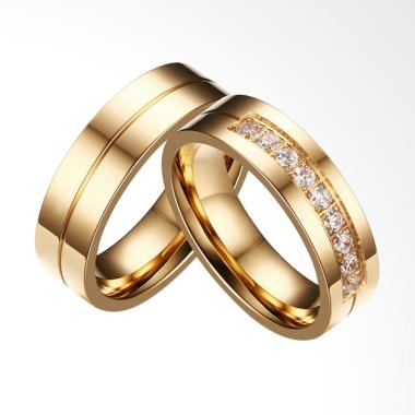 CDHJewelry CC052 Cincin Couple Titanium Anti Karat (Female 6 & Male 9)