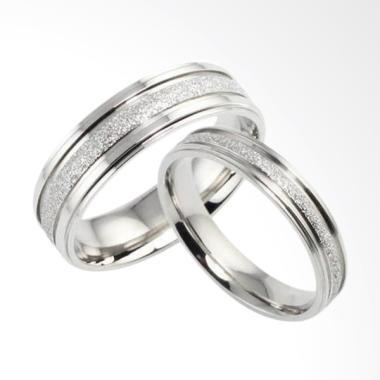 CDHJewelry CC067 Cincin Couple Titanium Anti Karat (Female 7 & Male 9)