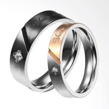 CDHJewelry CC069 Cincin Couple Titanium Anti Karat (Female 5 & Male 8)