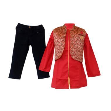 GBS Sens.3in1 Koko Red Batik Wool Vest Set Baju Muslim Anak