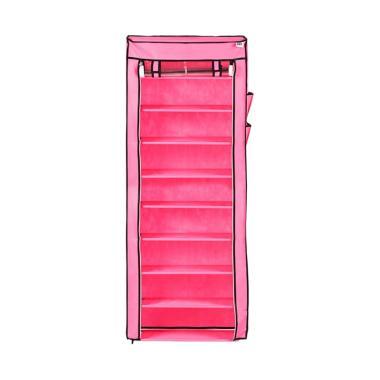 Nine Box Transparan Rak Sepatu - Bloosom Pink [10 Cover/9 Tingkat]