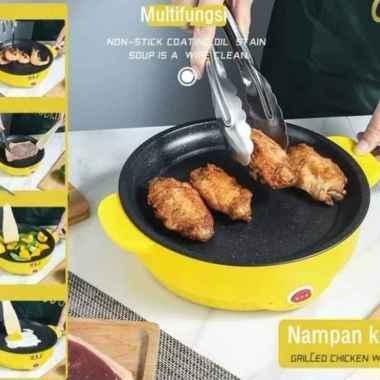 Korean Pan Fried 22cm Multifungsi Panci BBQ Grill Electric Baking Tray - Hijau Multicolor