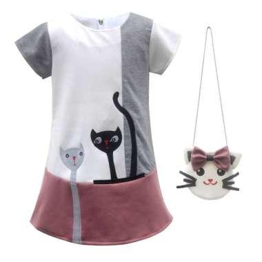 harga Two Mix Dress Anak Perempuan - Baju Anak Cewek Bahan Kaos Scuba Fashion GRATIS TAS LUCU 4082 1 Dusty Pink Blibli.com