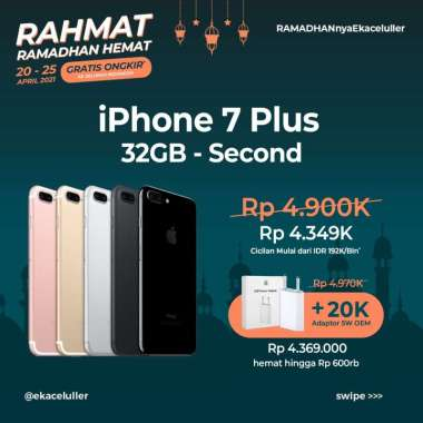 harga RAMADHAN HEMAT IPHONE 7 PLUS 32GB SECOND + ADAPTOR 5W NEW OEM ROSE GOLD Blibli.com