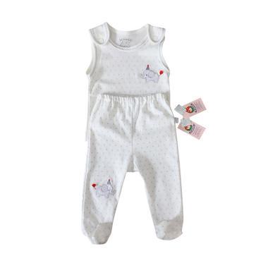 Ichigo LG Setelan Bayi Singlet Celana - White [Newborn]