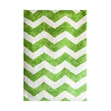 Vision Soft Shaggy Chevron Karpet - Green White [180 x 270 cm]