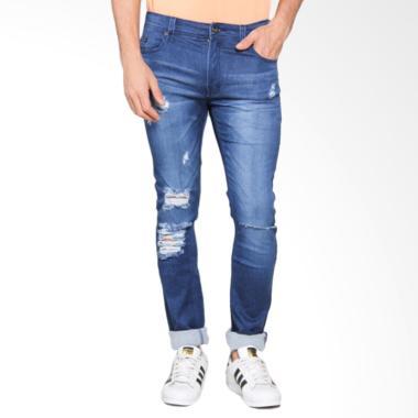 Bronco Slim Fit Ripped Soft Jeans Celana Panjang Pria - Blue 4162