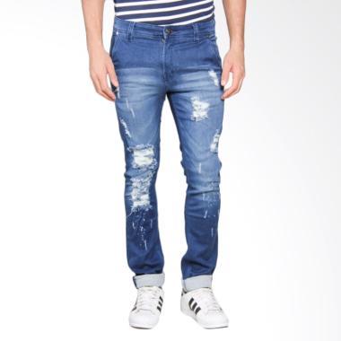 Bronco Slim Fit Ripped Soft Jeans Celana Panjang Pria - Blue 4164