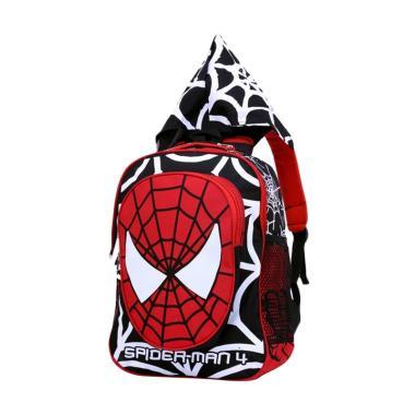Garsel Spiderman Tas Sekolah Anak Laki-Laki with Hoodie - Black Red