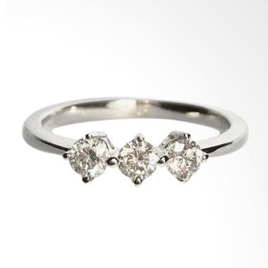 Lavish R17661 Cincin Berlian Emas Putih Mata Tiga [18K]