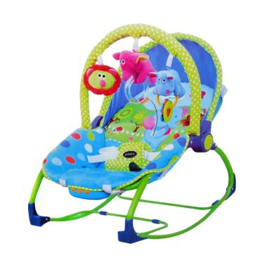 Pliko Elephant Rocking Chair Hammock 3 Phase Bouncer Bayi - Blue