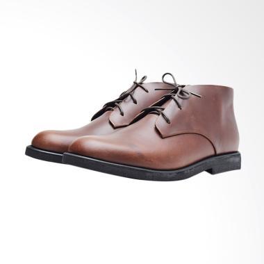 Wetan Shoes Kulit Asli Sepatu Boots Formal Pria - Coklat [JK1]