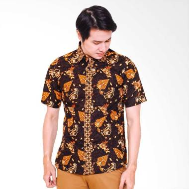Jayashree Astra Slimfit Short Sleeve Kemeja Batik Pria - Black Gold