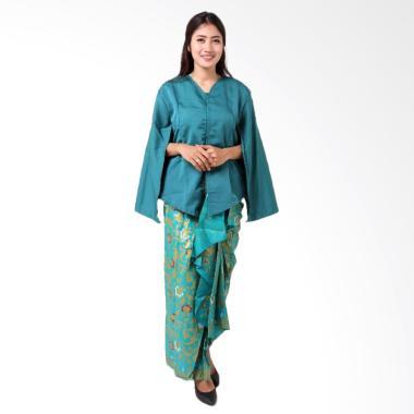 Batik Distro BA8770 Kaftan Setelan Pakaian Batik Wanita - Biru