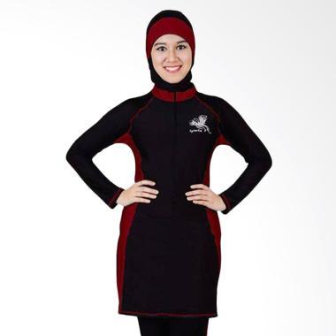 SPORTE Baju Renang Muslimah - Hitam Maroon [SP 03]