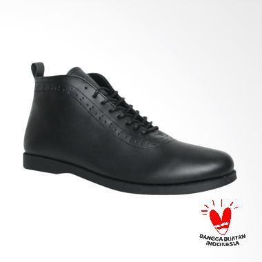 Fellas Shoes Basic Oppec Leather Syntetic Sepatu Boots Pria - Black