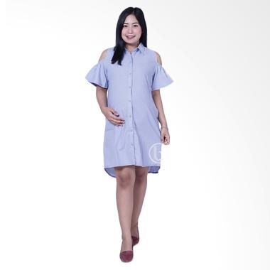 Mama Hamil DRO 871 Simple Modis Risqa Dress Hamil - Biru Muda