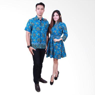 Batik Putri Ayu Solo SRD503 Batik Sarimbit Couple - Biru