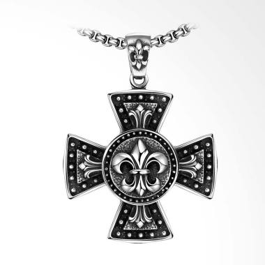 SOXY Classic Vintage Cross Men's Pendant Necklace - Silver [GMYN035]
