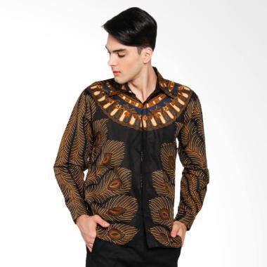 Batik Distro Merak Kemeja Pria - Hitam [K8104]