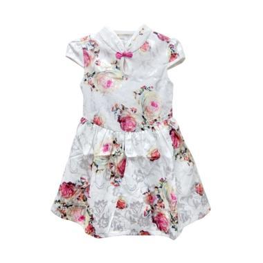 Import Kid Cheongsam Bunga Dress Anak - White
