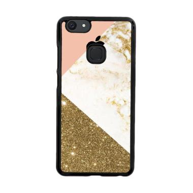 Flazzstore Pink And Gold Marble App ... m Casing for Vivo V7 Plus