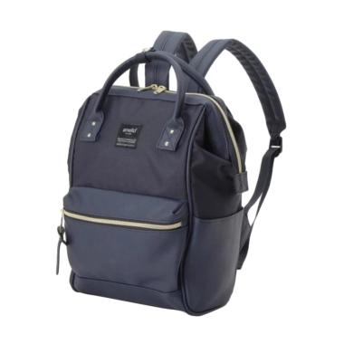 Anello X The Emporium Limited Edition Canvas X PU Leather Backpack Tas Ransel - Navy