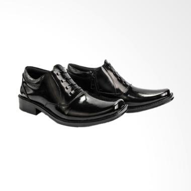 JAFERI Resleting Sintetis Sepatu Pantofel Pria - Black [PDH 02]