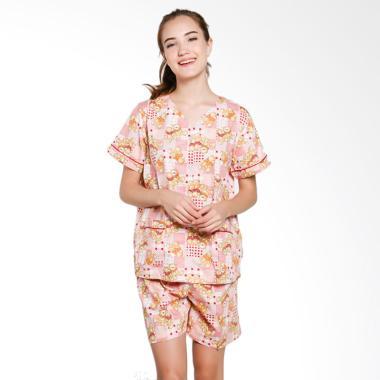 Just Fashion Katun Piyama Baju Tidur Wanita - Pink Orange Deer