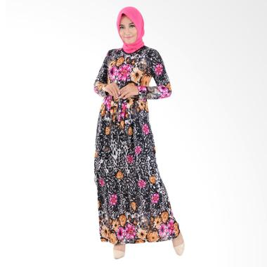 Jfashion Corak Bunga Maxi Long Dress Gamis Muslim - Fatimah Pink
