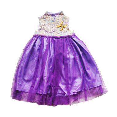 Flower Kids Tutu Dress Cheongsam - Purple List Gold