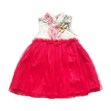 Flower Kids Flower Tutu Dress Cheongsam Anak - Cream Red