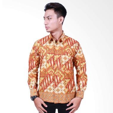 Batik Putri Ayu Solo Kemeja Batik Lengan Panjang - Orange [KPJ502]