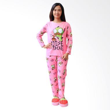 Aily 8804 Setelan Baju Tidur dan Celana Panjang Wanita - Pink