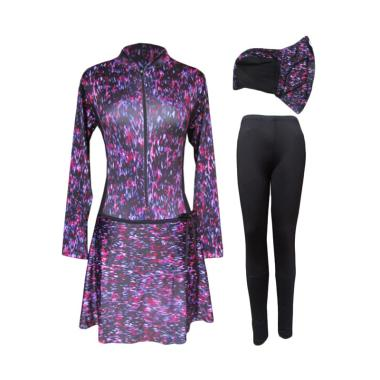 Rainy Collections Motif Bercak Warna Baju Renang Muslim Wanita - Black