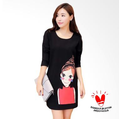 Jfashion Scuba Printing Tangan Panjang Mini Dress - Hitam