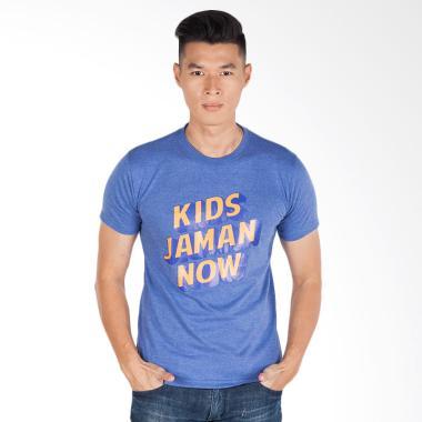 Trending Graphic Print Kids Jaman Now T-Shirt Pria - Biru
