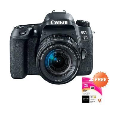 Canon EOS 77D Kit 18-55 mm IS STM Kamera DSLR + Free SONY Memory Card [8 GB]