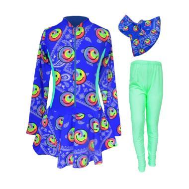 Rainy Collections Motif Smiley Baju Renang Anak Muslim - Biru