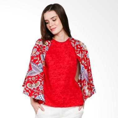Koesoema Clothing Keira Batwing Cape Batik Blouse - Red