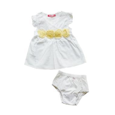 AMISSA Bunga Kuning Dress Anak - Putih