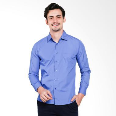 VM Polos Tangan Panjang Slimfit Formal Kemeja Pria - Mid Biru