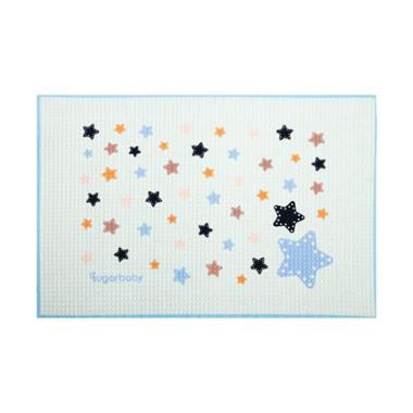 Sugar Baby Blue Star Organic Healthy Cot Sheet Perlak Bayi
