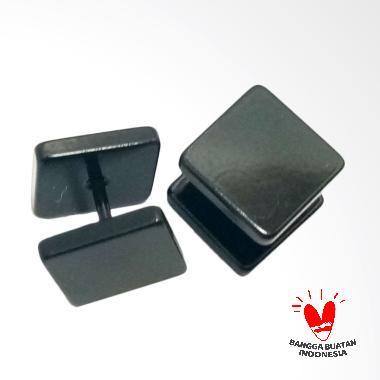 VeE Tindik Barbel Kotak Anting - Titanium Hitam