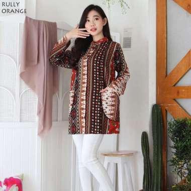 Evercloth - Rully - Baju Batik Wanita / Batik Modern / Blouse Wanita / Batik Lengan Panjang ORANGE