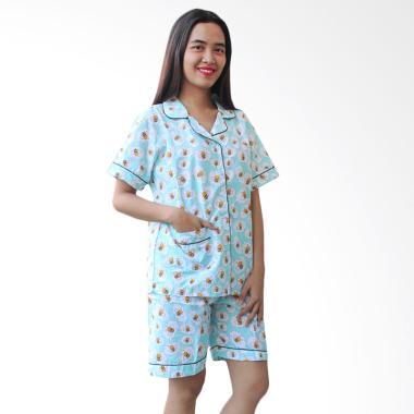 Aily BT032 Motif Bee Katun Jepang Setelan Baju Tidur Wanita - Biru