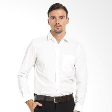 Johnwin Slim Fit Lengan Panjang Kemeja Formal Pria - Putih