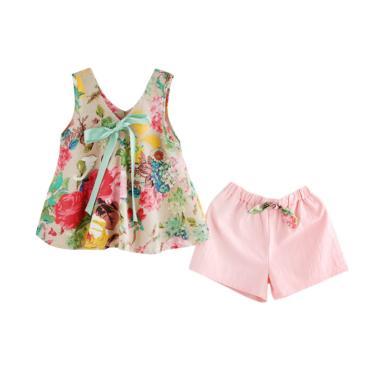 CHICLE Motif Bunga Setelan Baju Anak Perempuan